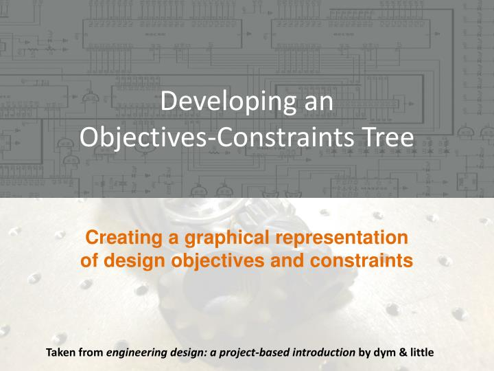 Developing an objectives constraints tree