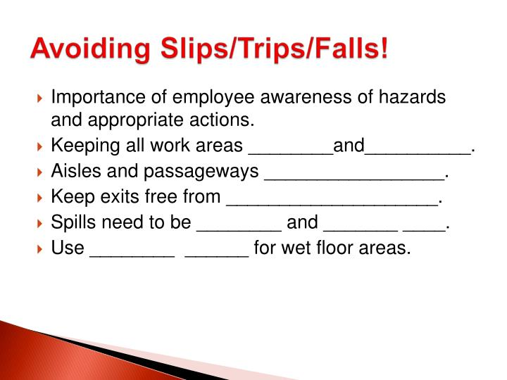 Importance of employee awareness of hazards and appropriate actions.