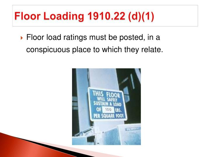 Floor load ratings must be posted, in a conspicuous place to which they relate.
