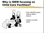 why is idem focusing on child care facilities