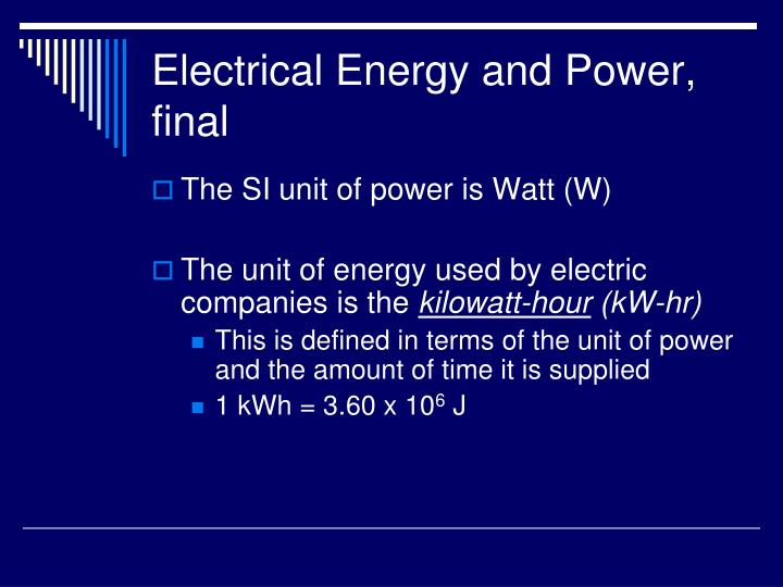 Electrical Energy and Power, final