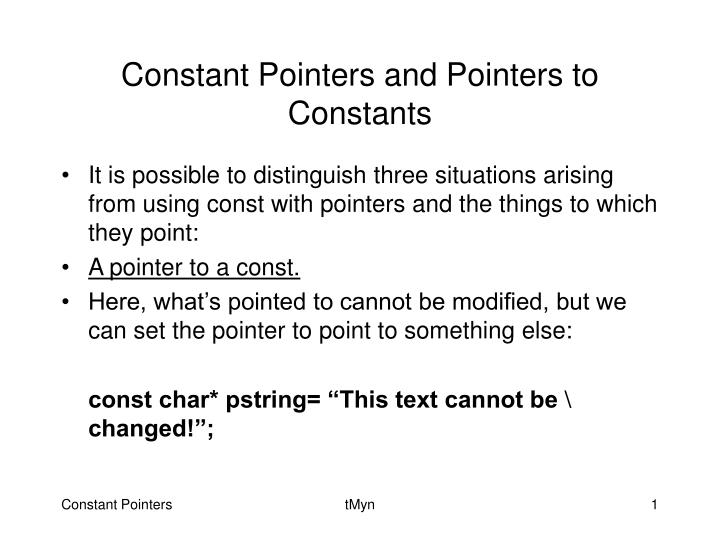 constant pointers and pointers to constants n.