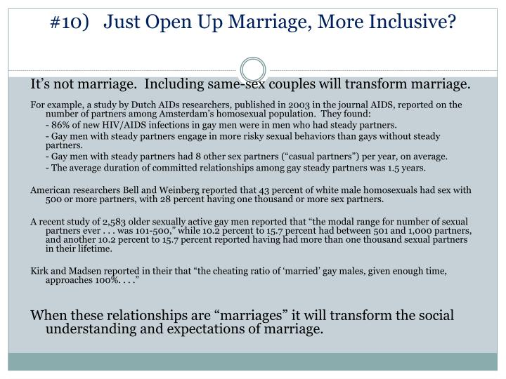 #10)   Just Open Up Marriage, More Inclusive?