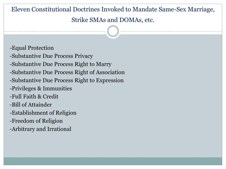 Eleven Constitutional Doctrines Invoked to Mandate Same-Sex Marriage, Strike SMAs and DOMAs, etc.