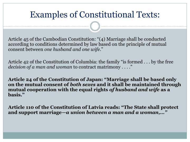 Examples of Constitutional Texts: