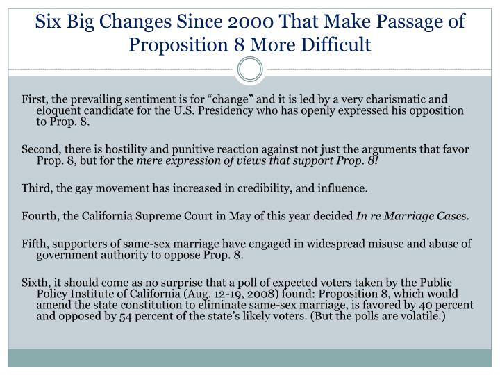 Six Big Changes Since 2000 That Make Passage of Proposition 8 More Difficult