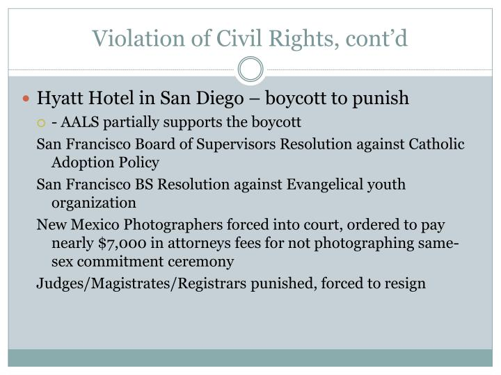 Violation of Civil Rights, cont'd