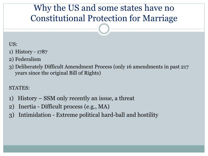 Why the US and some states have no Constitutional Protection for Marriage