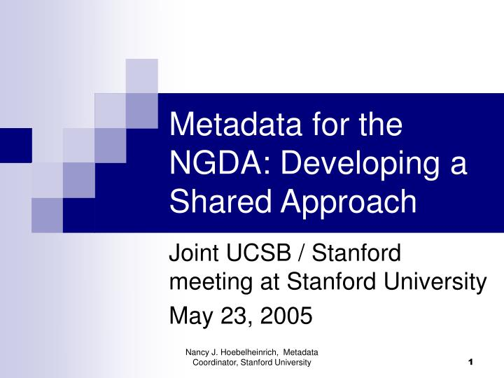 metadata for the ngda developing a shared approach n.