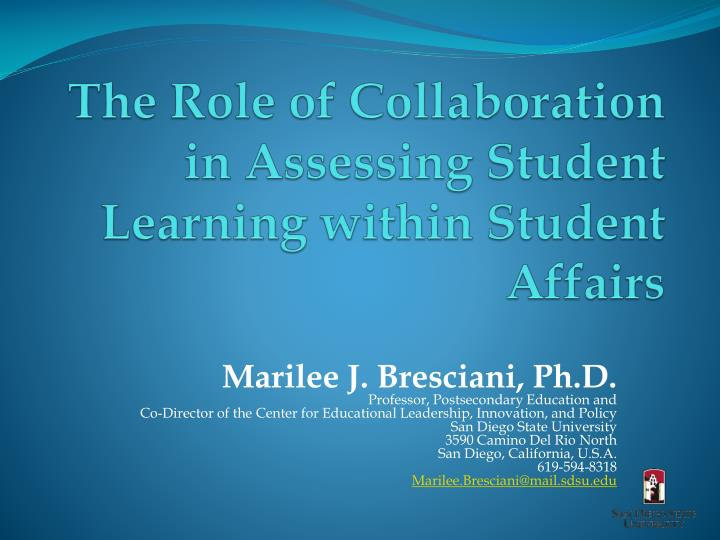 the role of collaboration in assessing student learning within student affairs n.