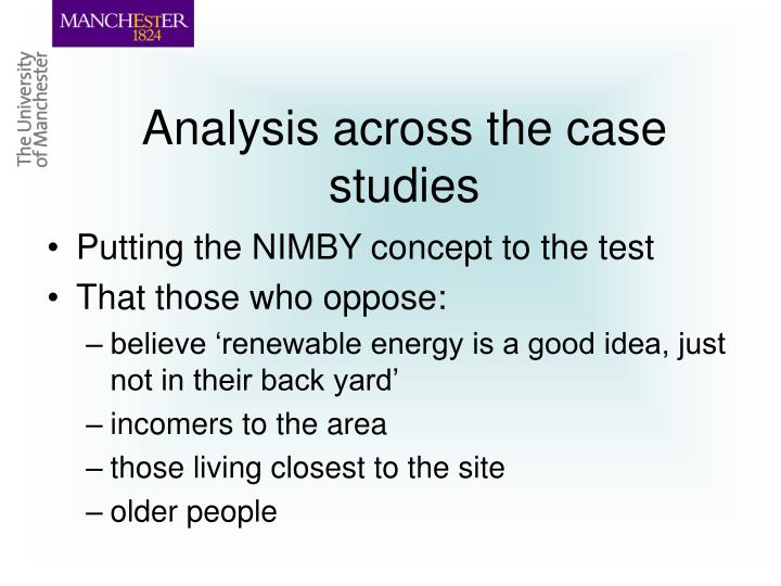 Analysis across the case studies