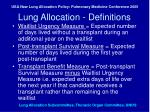 lung allocation definitions