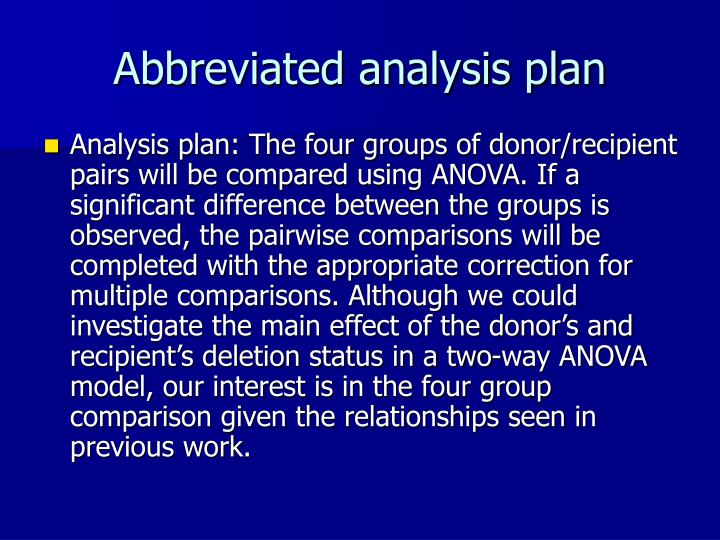 Abbreviated analysis plan
