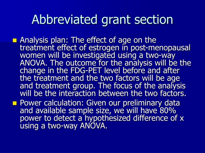 Abbreviated grant section