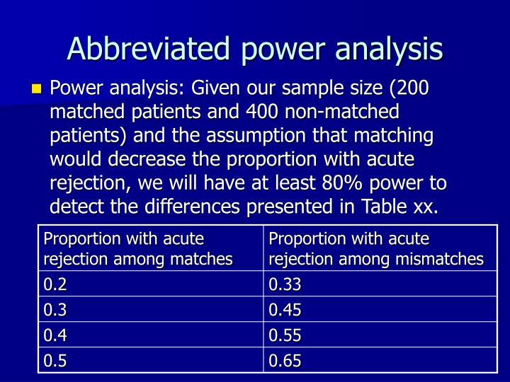 Abbreviated power analysis