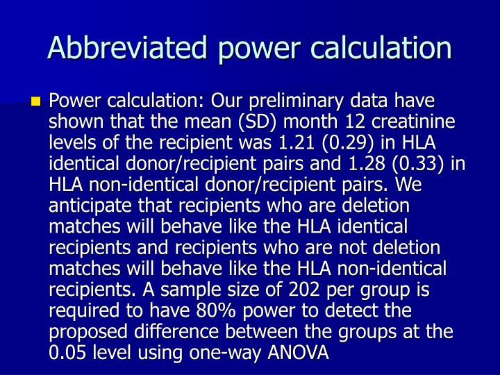 Abbreviated power calculation