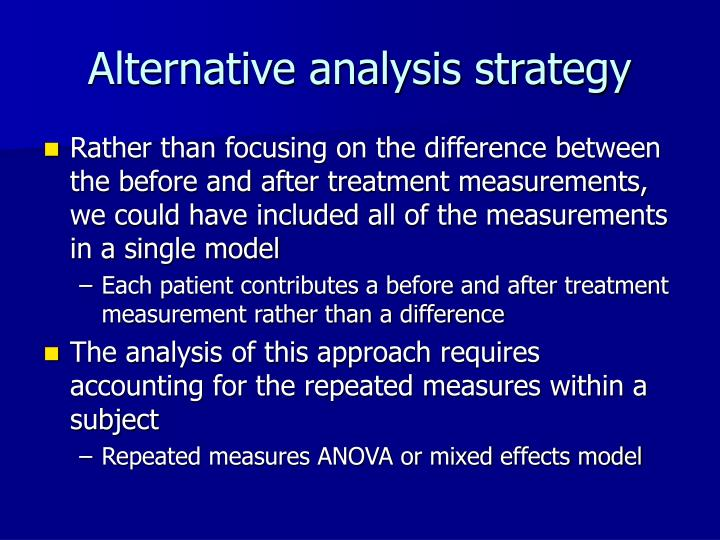 Alternative analysis strategy