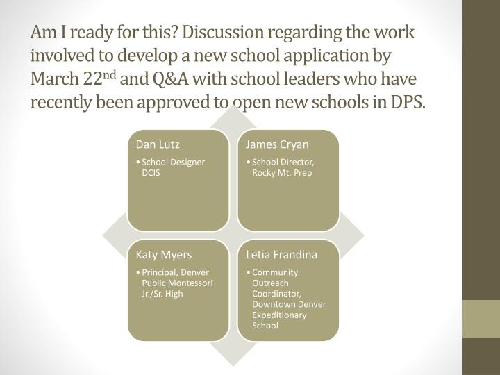 Am I ready for this? Discussion regarding the work involved to develop a new school application by March 22