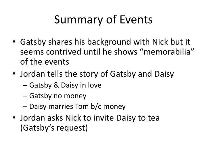 Summary of events1