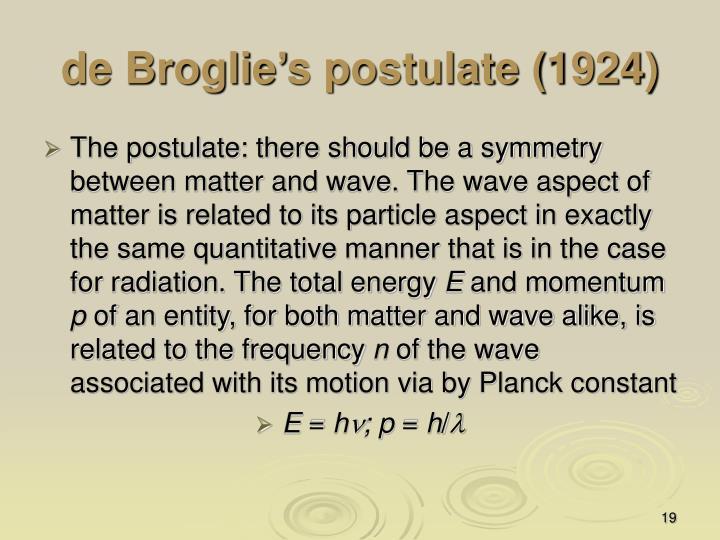 de Broglie's postulate (1924)