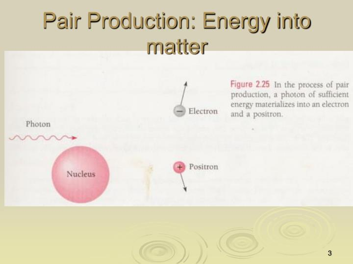Pair production energy into matter