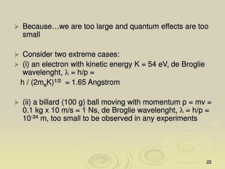 Because…we are too large and quantum effects are too small