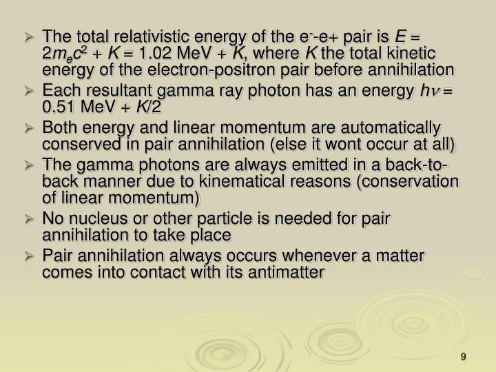 The total relativistic energy of the e