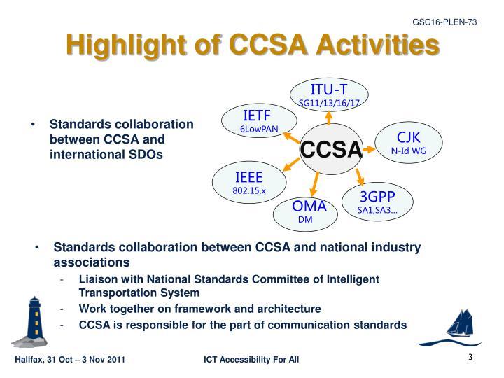 Highlight of ccsa activities1