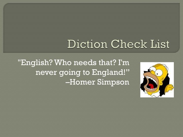 Diction check list