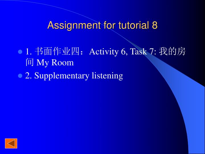 Assignment for tutorial 8