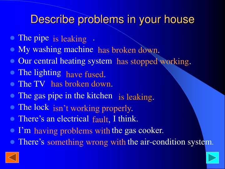 Describe problems in your house