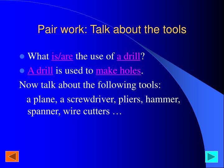 Pair work: Talk about the tools