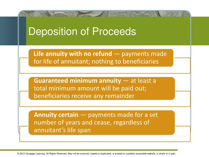 Deposition of Proceeds