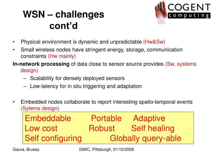 WSN – challenges cont'd