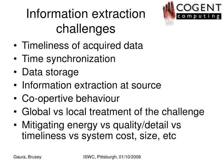 Information extraction challenges