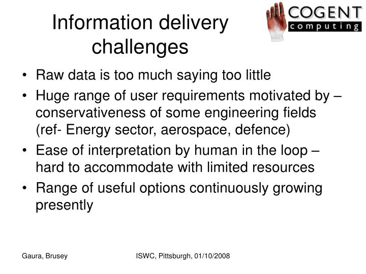 Information delivery challenges