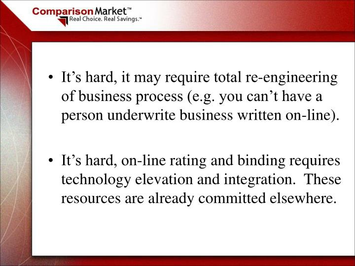 It's hard, it may require total re-engineering of business process (e.g. you can't have a person underwrite business written on-line).