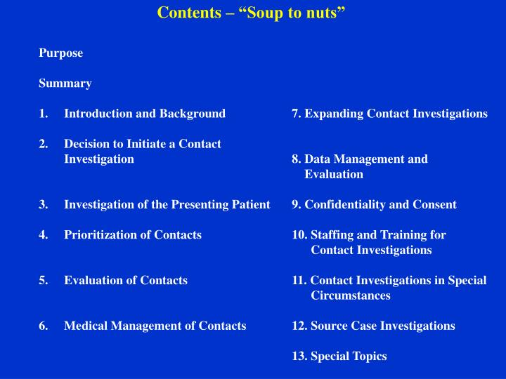 """Contents – """"Soup to nuts"""""""