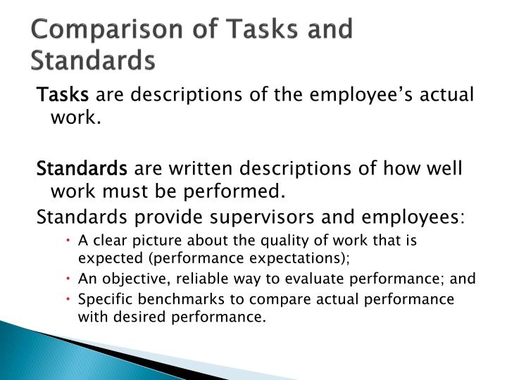 Comparison of Tasks and Standards