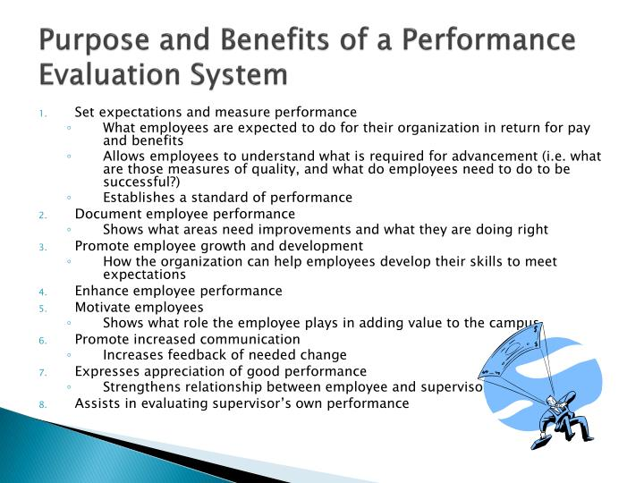 Purpose and benefits of a performance evaluation system