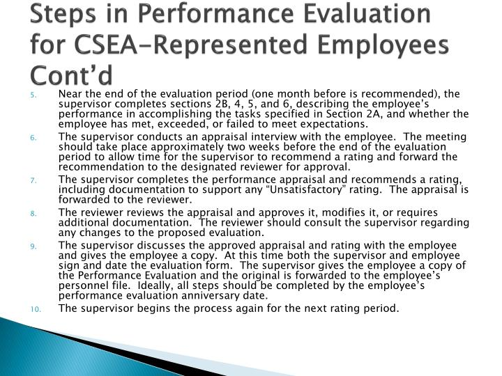Steps in Performance Evaluation for CSEA-Represented Employees Cont'd