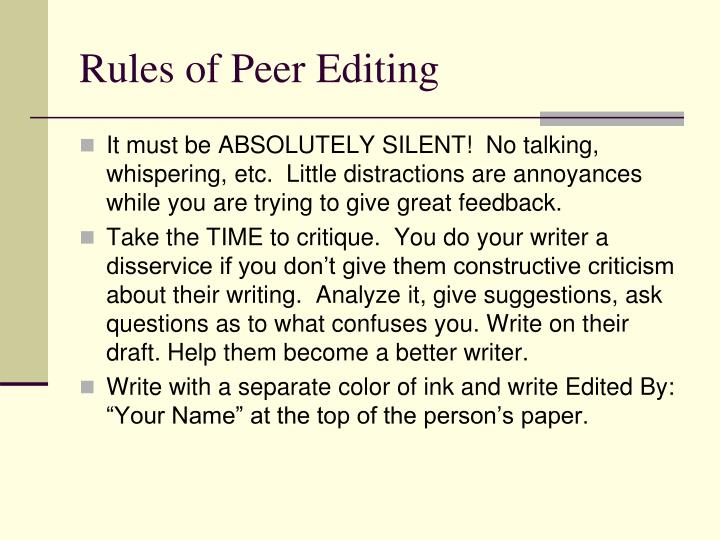 rules of peer editing n.