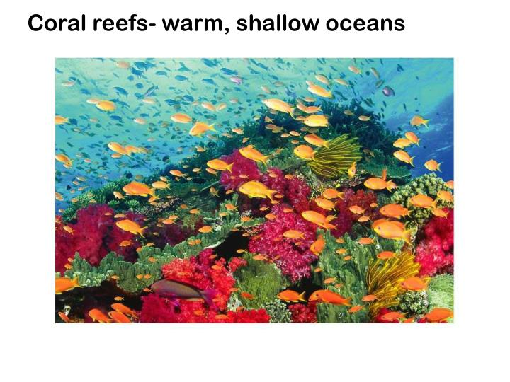 Coral reefs- warm, shallow oceans