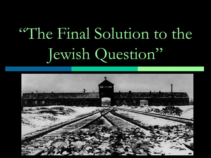the final solution to the jewish question n.