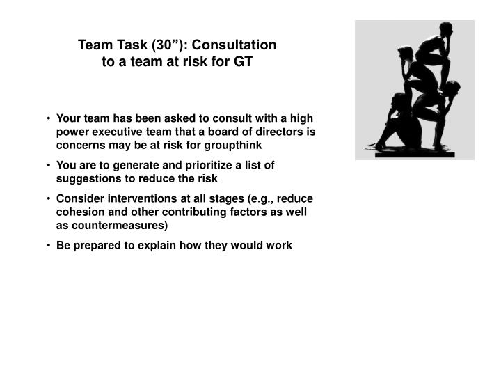 """Team Task (30""""): Consultation to a team at risk for GT"""