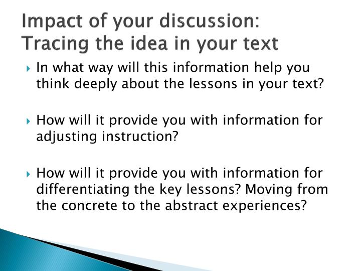 Impact of your discussion: