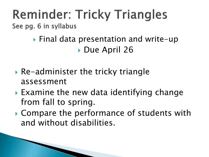 Reminder: Tricky Triangles