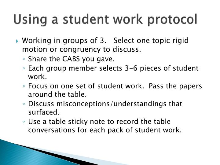 Using a student work protocol
