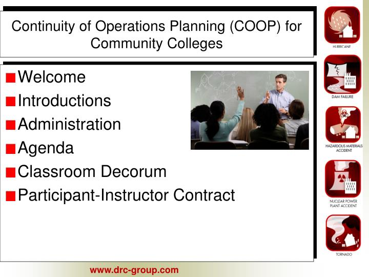 continuity of operations planning coop for community colleges n.