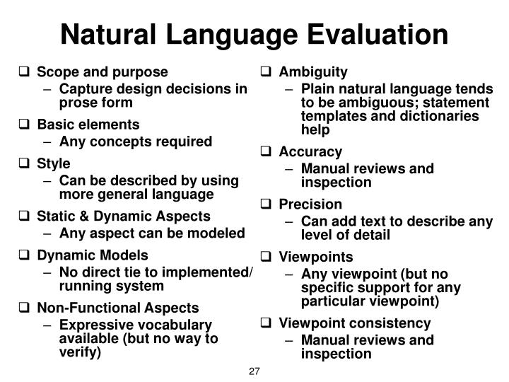 Natural Language Evaluation